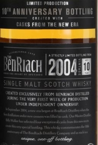BenRiach 10th Anniversary Bottling Label NEW