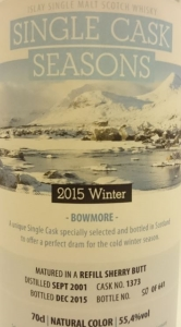 Bowmore 2001 'Single Cask Seasons – Winter 2015′ (SV for Kirsch Import) Label 2