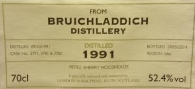 Bruichladdich 1991 (Gordon & MacPhail 'Cask Strength') Label 4