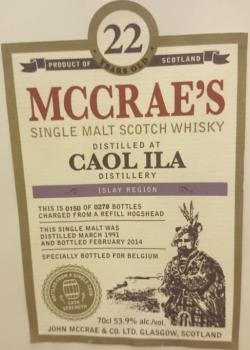 Caol Ila 1991 (John McCrae & Co. 'McCrae's') Label 3
