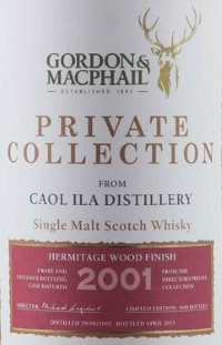 Caol Ila 2001 Hermitage Wood Finish (Gordon & MacPhail 'Private Collection') Label NEW