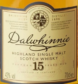 Dalwhinnie 15 Years Old Label