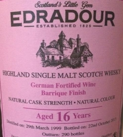 Edradour 1999 German Fortified Wine Barrique Finish Label 2