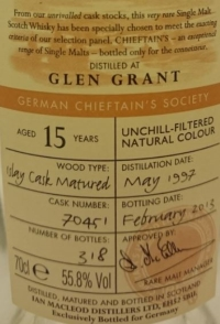 Glen Grant 1997 (Ian MacLeod Chieftain's) Label 3