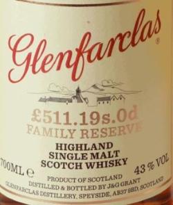 Glenfarclas £511.19s.0d Family Reserve Label 3