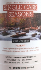 Glenlivet 1996 Single Cask Seasons – Autumn 2015 Label 3