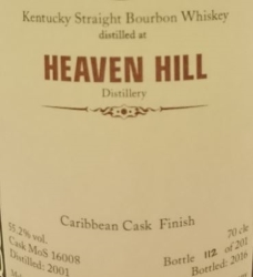 Heaven Hill 2001 Caribbean Cask Finish (MoS) Label 3