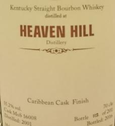 Heaven Hill 2001 Caribbean Cask Finish (MoS) Label 3