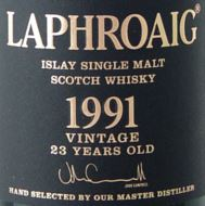 Laphroaig 1991 23 Years Old Label NEW