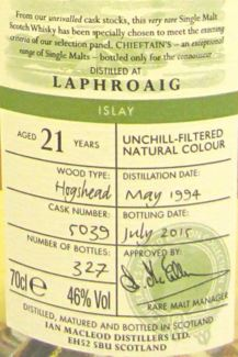 Laphroaig 1994 21 Years Old Chieftain's