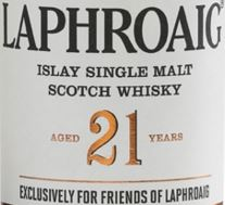 Laphroaig 21 Years Old Label