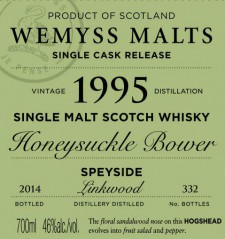Linkwood 1996 'Honeysuckle Bower' (Wemyss Malt) Label