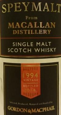 Macallan Speymalt 1994 (Gordon & MacPhail) Label 2