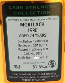Mortlach 1990 Cask 6075 (SV 'Cask Strength Collection') Label NEW