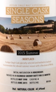 Mortlach 1998 Single Cask Seasons – Summer 2015 Label 2