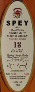 SPEY 18 Years Old Label 2