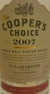 Tullibardine 2007 (Cooper's Choice) Label